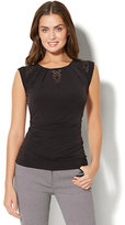 New York & Co. 7th Avenue - Lace-Inset Cap-Sleeve Top - Black