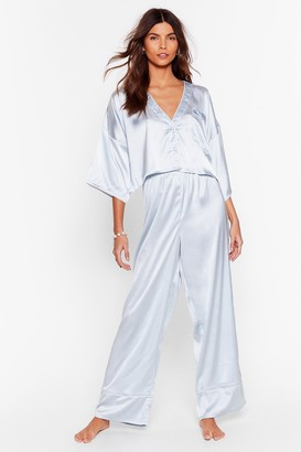 Nasty Gal Womens You've Made Your Bed Satin Shorts Pajama Set - Blue