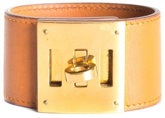 Hermes 18K Plated Tan Leather Kelly Dog Bracelet