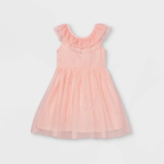 Cat & Jack Girls' Short Ruffle Sleeve Sequin Tulle Dress - Cat & JackTM Powder