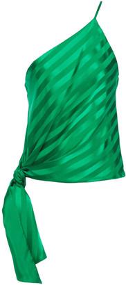 Mason by Michelle Mason One-shoulder Striped Silk-satin Jacquard Top