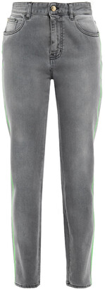 Just Cavalli Neon-trimmed Faded High-rise Slim-leg Jeans