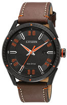 Citizen Drive Ion-Plated Stainless Steel and Leather Strap Watch, BM6995-19E