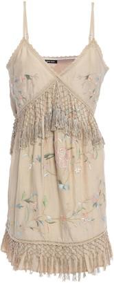 Love Sam Fringe-trimmed Embroidered Mousseline Mini Dress