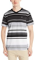 Southpole Men's Stripe V-Neck T-Shirt with Pin Engineered Irregular Stripes