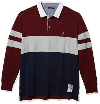 Nautica Men's Tall Long Sleeve 100% Cotton Rugby Stripe Jersey Polo Shirt