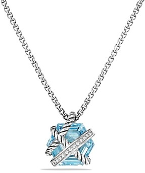 David Yurman Cable Wrap Necklace with Blue Topaz and Diamonds, 10mm