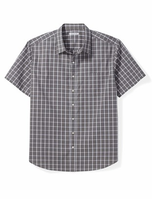 Amazon Essentials Men's Big & Tall Short-Sleeve Plaid Shirt fit by DXL