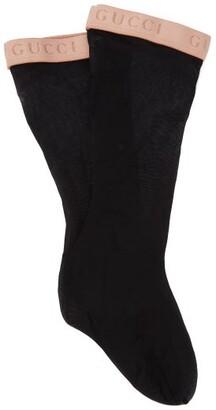 Gucci Knee-high Logo-jacquard Socks - Womens - Black