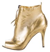 Jerome C. Rousseau Metallic Peep-Toe Booties