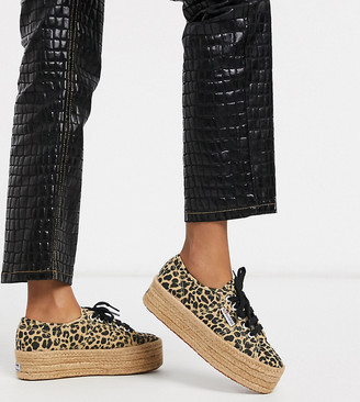 Superga 2790 exclusive espadrille flatform trainers in leopard