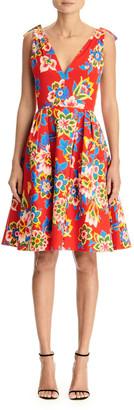 Carolina Herrera Floral-Print Poplin V-Neck Dress