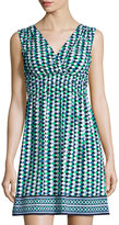 Max Studio V-Neck Printed Jersey Dress, Navy/Blue