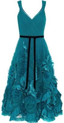 Marchesa Velvet-trimmed Appliqued Ruffled Tulle Midi Dress