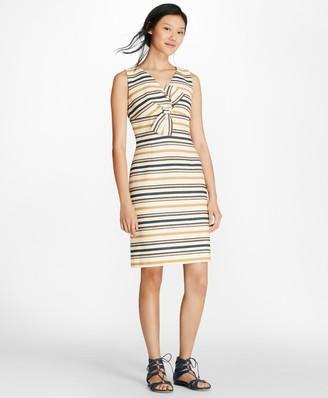 Brooks Brothers Striped Twist-Detail Sheath Dress