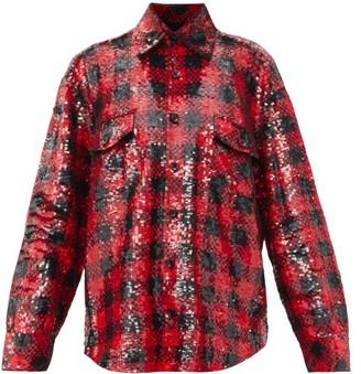 Ashish Oversized Plaid Sequinned Shirt - Black Red