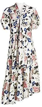 Erdem Women's Jayla Floral Puff Sleeve Asymmetric Midi Dress