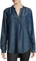 Joan Vass Chambray Pocket Top, Dark Blue