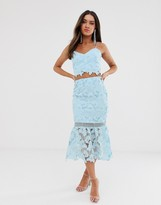 Love Triangle cutwork lace pencil skirt two-piece in soft blue