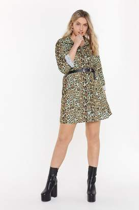 Nasty Gal Womens Tail All Leopard Shirt Dress - green - 6