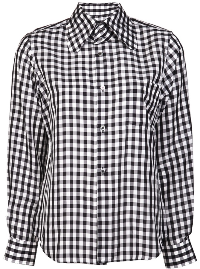 Comme des Garcons white and gingham print blouse