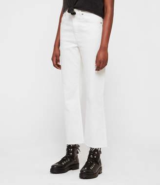 AllSaints Eden Hirise Straight Cropped Jeans, White