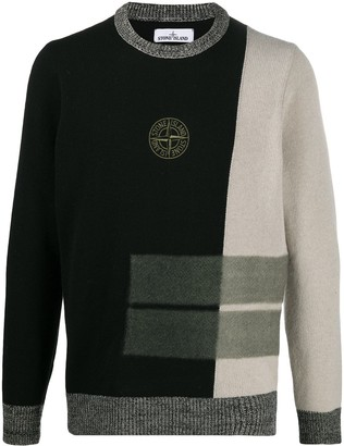 Stone Island Logo Embroidered Monochrome Block Jumper