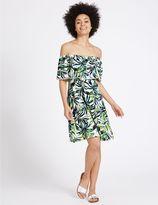 Marks and Spencer Printed Bardot Short Sleeve Shift Dress