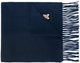 Moschino fringed teddy logo scarf