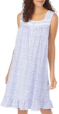 Eileen West Cotton Floral Print Eyelet Lace Short Jersey Nightgown