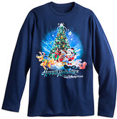 Disney Santa Mickey Mouse and Pluto Long Sleeve Holiday Tee for Adults - Walt World