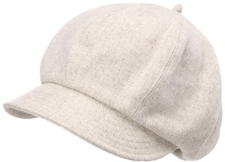 Jeff & Aimy Womens 51% Wool Winter Cap Cold Weather Newsboy Hat Ladies Berets Visor Cloche Hat Lined Beige
