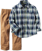 Carter's Little Boys' 2-Pc. Long-Sleeve Plaid Shirt & Pants Set