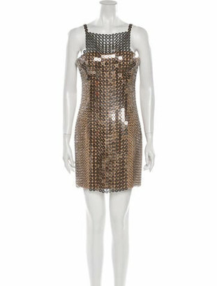 Versace Square Neckline Mini Dress w/ Tags Silver