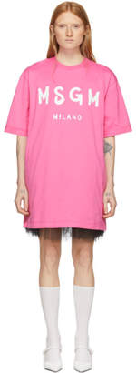 MSGM Pink Paint Brush Logo T-Shirt Dress