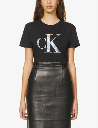 Calvin Klein Iridescent logo-print cotton-jersey T-shirt