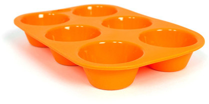 Casabella 6 Cup Muffin Pan Orange Set Of 2