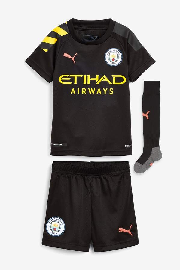 f19c15b04050b Boys Manchester City FC 19/20 Kids Mini Kit - Black