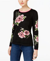 INC International Concepts Floral-Print Intarsia Sweater, Only at Macy's