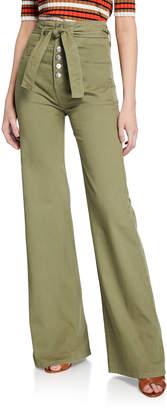 Veronica Beard Rosanna High-Rise Corset Wide-Leg Jeans