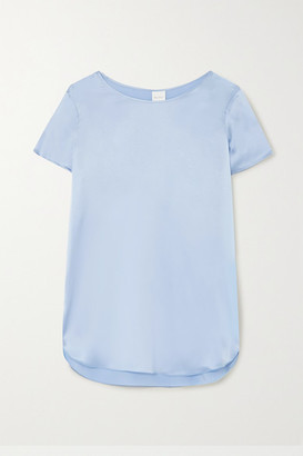 Max Mara Leisure Cortona Silk-blend Satin T-shirt - Light blue