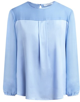 Dressarte Paris Long Sleeves Blue Silk Blouse