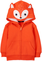 Gymboree Orange Fox Appliqué Fleece-Lined Zip-Up Hoodie - Infant