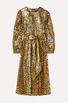 Marc Jacobs Runway Pleated Animal-print Silk-blend Lame Midi Dress - Leopard print