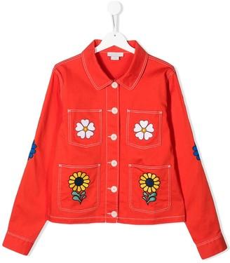 Stella McCartney Kids TEEN floral denim jacket