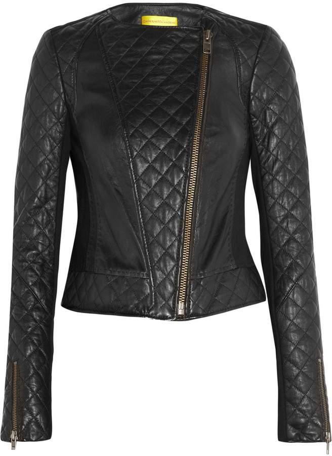 Catherine Malandrino Quilted leather and stretch-ponte jacket