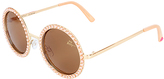 Betsey Johnson Peach Faux Pearl-Embellished Round Sunglasses