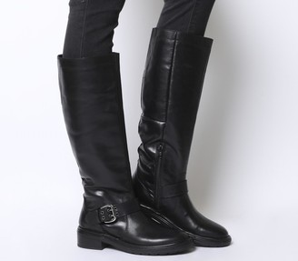 Office Kelly Casual Buckle Knee Boots Black Leather