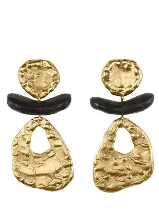 24K Goldplated Brass With Darkwood Cutout Clip Earrings