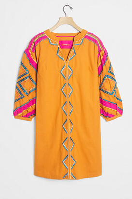 Anthropologie Stasiana Embroidered Tunic Dress By in Orange Size M